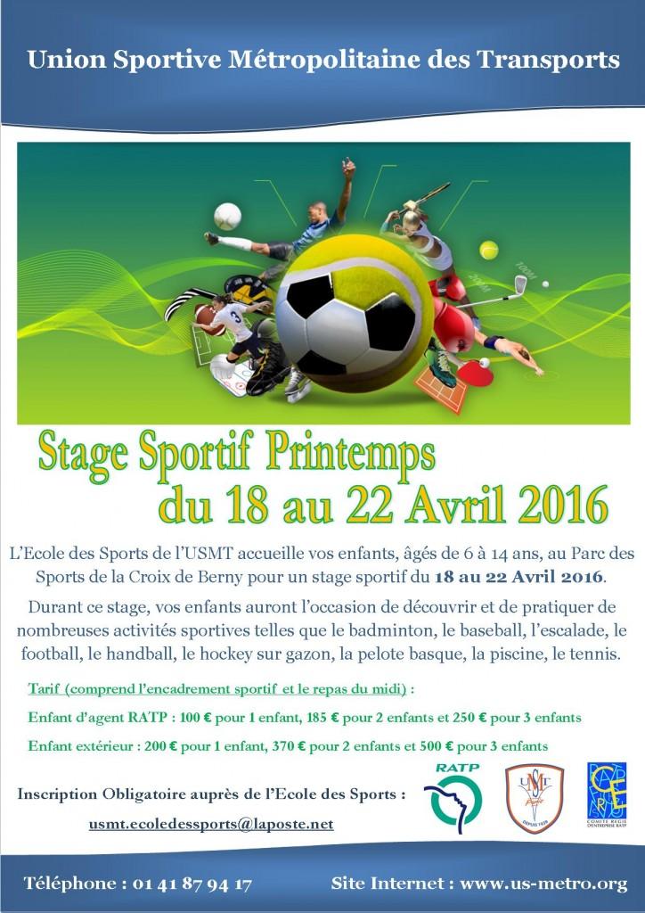 Stage Sportif Printemps 2016
